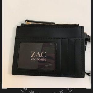 NEW NWT Zac Posen black leather wristlet